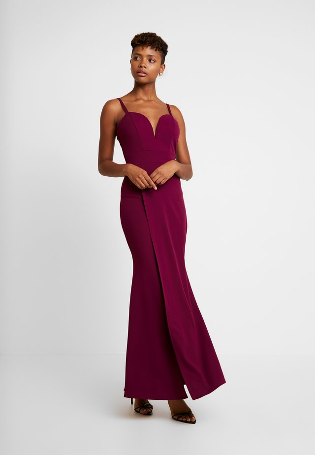 THIN STRAP V NECK MAXI WITH SPLIT - Occasion wear - plum