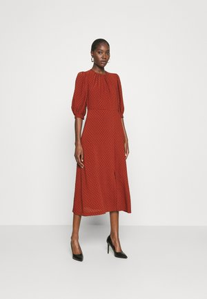 MIDI GATHERED NECK DRESS - Day dress - rust