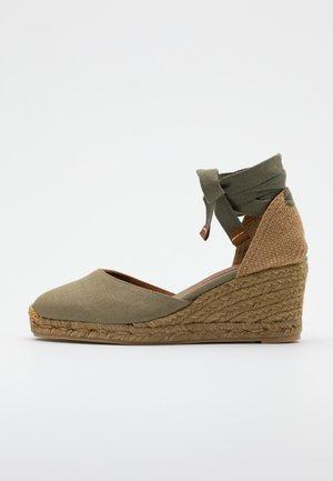 CARINA  - Sandály na klínu - verde kaki