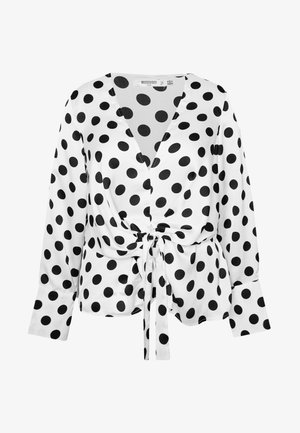 PLUS TWIST FRONT POLKA DOT  - Blůza - white