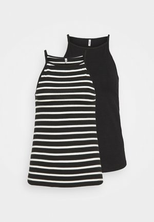 ONLMAY LIFE STRIPE 2 PACK - Top - black/black with cloud dancer