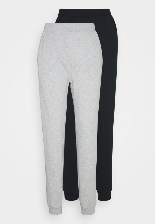 2PACK REGULAR FIT JOGGERS - Träningsbyxor - black/light grey