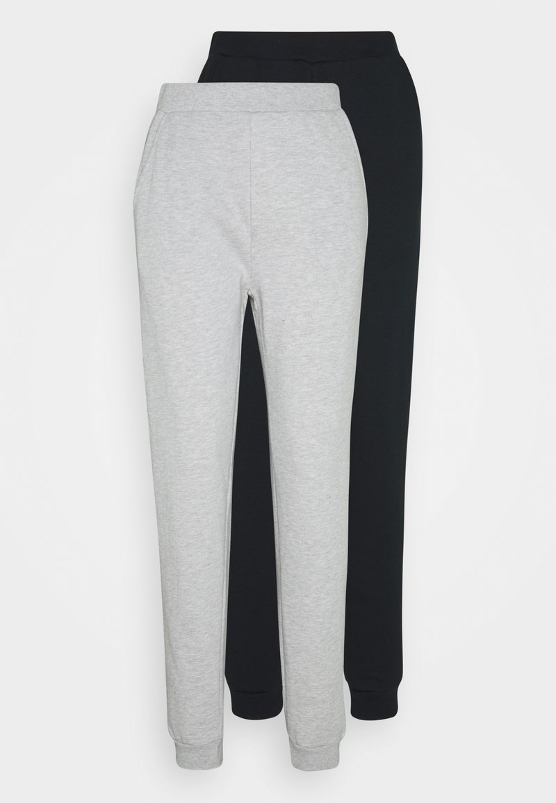 Even&Odd Tall - 2PACK REGULAR FIT JOGGERS - Tracksuit bottoms - black/light grey