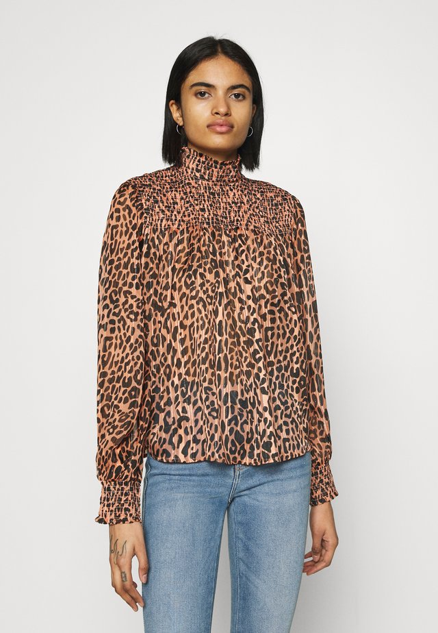 PRINTED WITH SMOCKING DETAILS - Blouse - brown