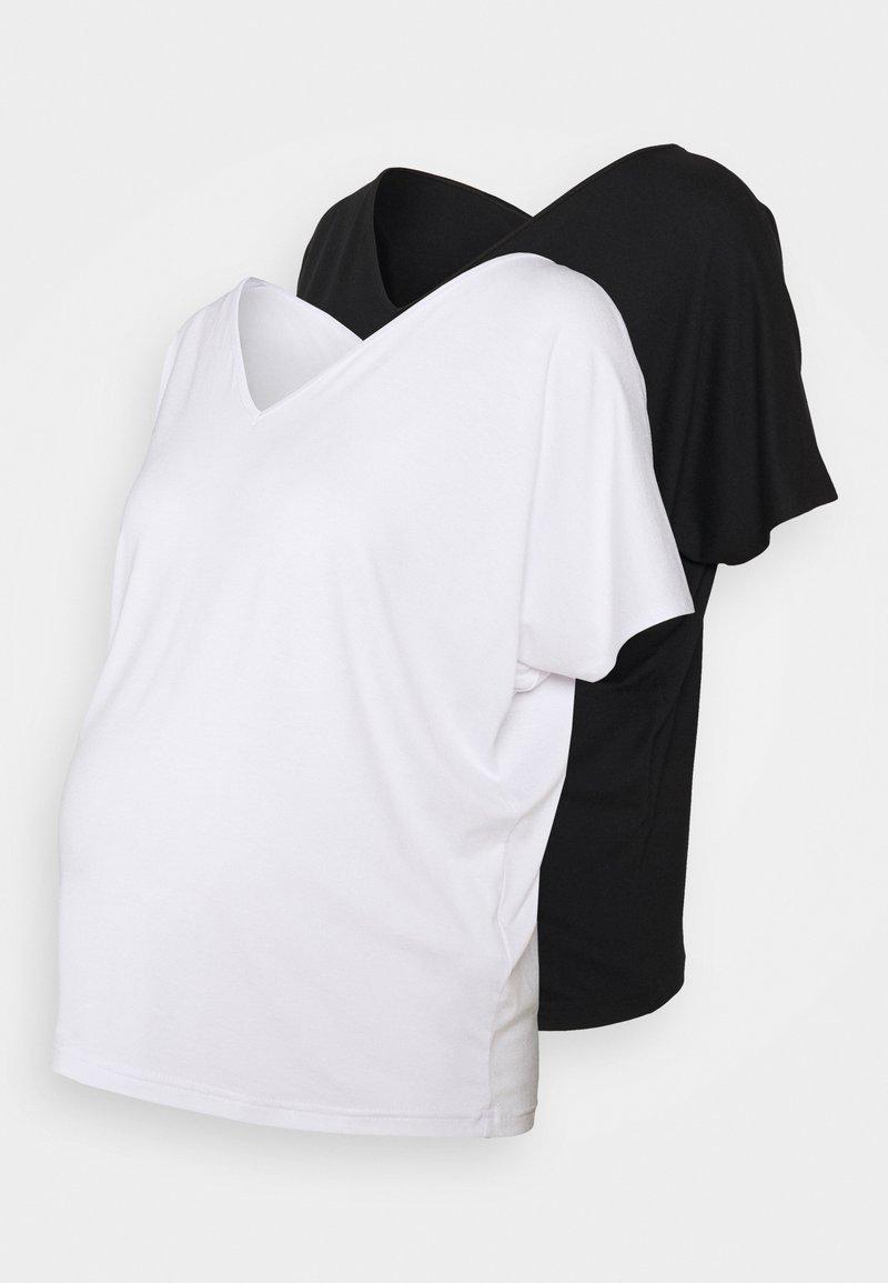 Anna Field MAMA - 2 PACK - T-shirt basic - white/black