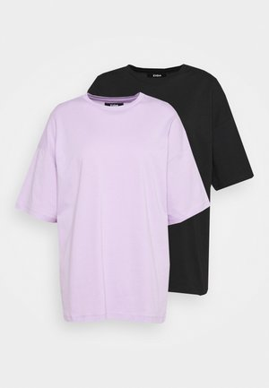 2 PACK - Basic T-shirt - black/lilac