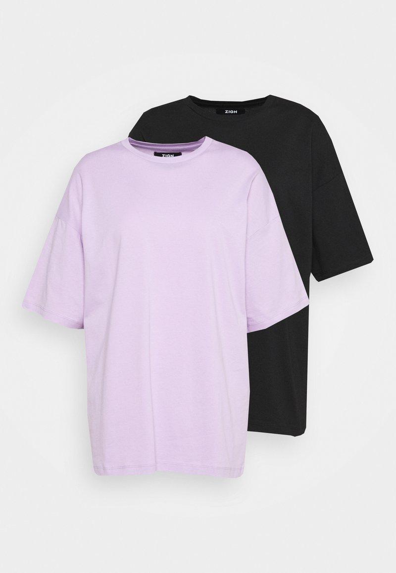 Zign - 2 PACK - T-shirts - black/lilac