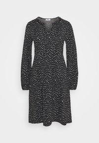 ONLZILLE FRILLNECK DRESS  - Day dress - black/white ditsy