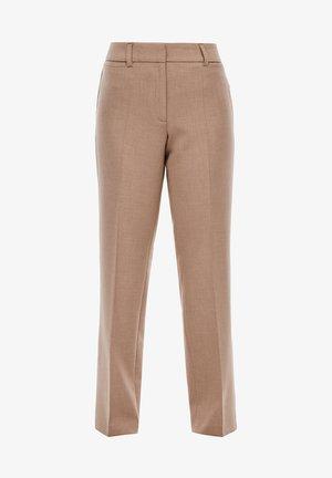 REGULAR FIT MIT BÜGELFALTEN - Trousers - brown melange