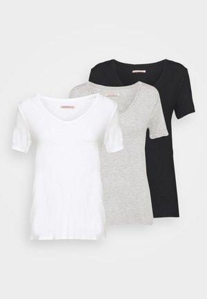 3 PACK V NECK TOP - Print T-shirt - black/white/light grey