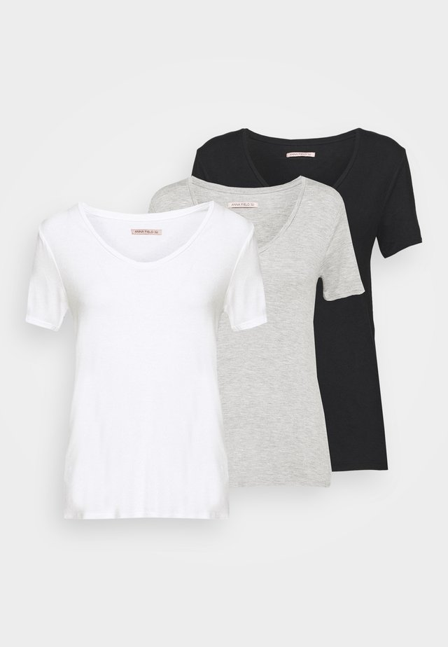 3 PACK V NECK TOP - T-shirt con stampa - black/white/light grey