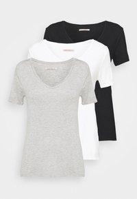 Anna Field Tall - 3 PACK V NECK TOP - Printtipaita - black/white/light grey - 6