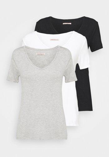 3 PACK V NECK TOP - Printtipaita - black/white/light grey