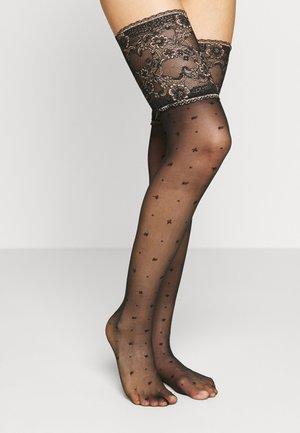 WINSOME N. STU FALKE WINSOME NIGHT 15 DENIER STAY UPS TRANSPARENT FEIN SCHWARZ - Over-the-knee socks - black
