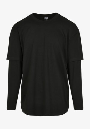 OVERSIZED SHAPED DOUBLE LAYER TEE - Long sleeved top - black/black