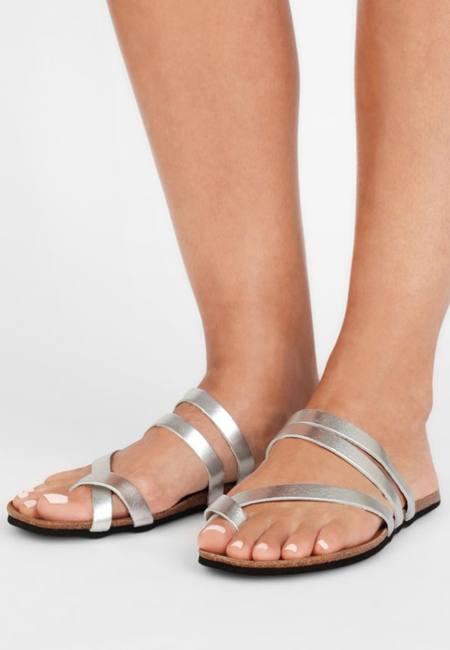 Mules - silver-coloured