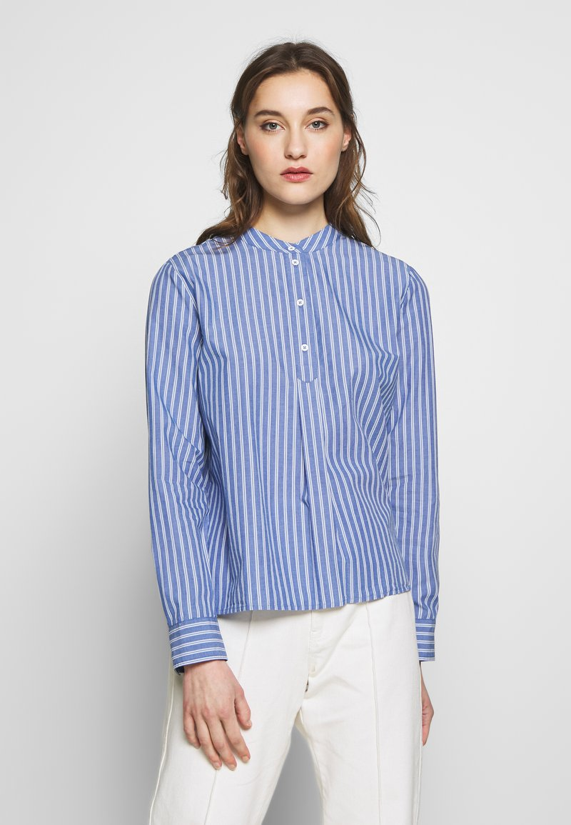 Marc O'Polo DENIM - BLOUSE HALF BUTTON PLACKET LONGSLEEVE - Button-down blouse - blue