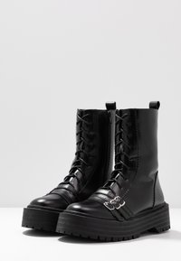 Lost Ink Wide Fit - WIDE FIT BUCKLE DETAIL CHUNKY LACE UP BOOT  - Biker-/cowboynilkkurit - black - 4