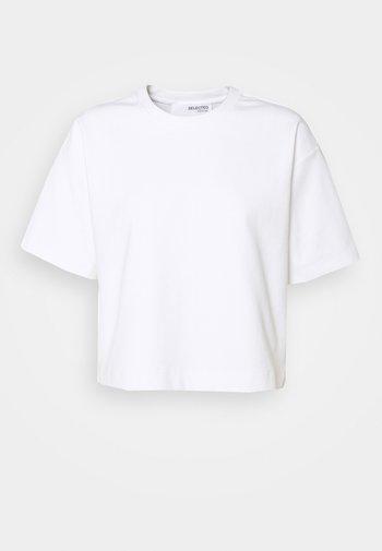 SLFFRAME O NECK CROP TEE - Jednoduché triko - bright white