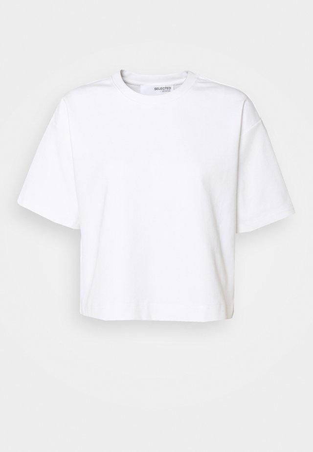SLFFRAME O NECK CROP TEE - T-paita - bright white