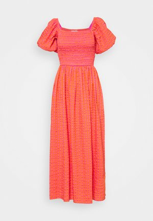 GINGHAM MIDI DRESS - Day dress - orange