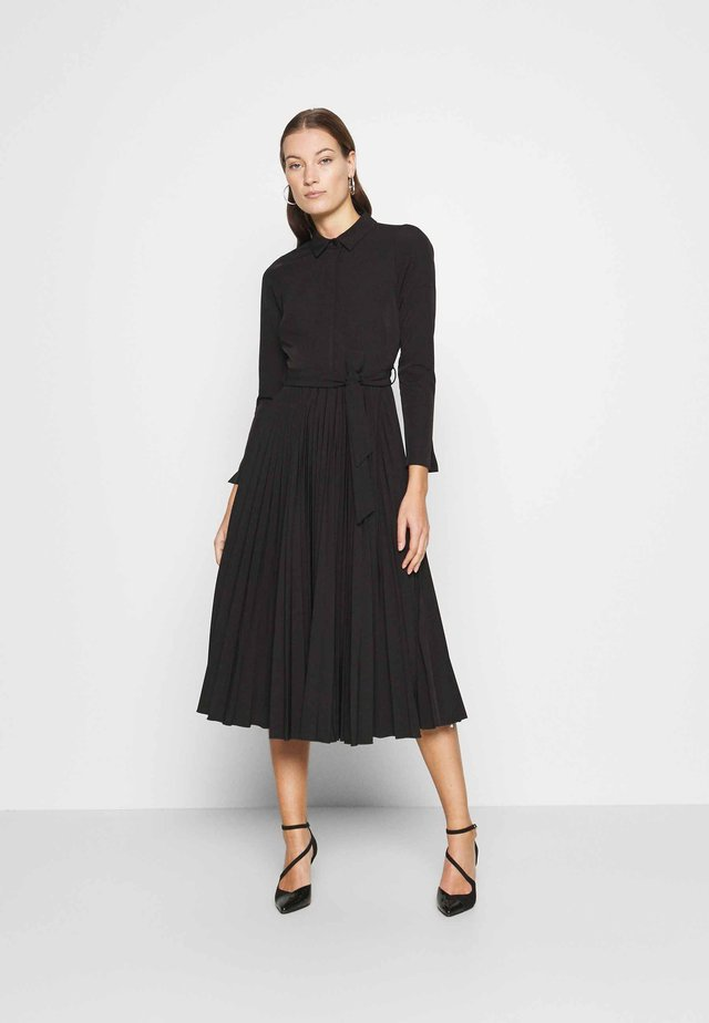 PLEATED SHIRT DRESS - Shirt dress - black