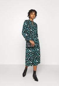 ONLY - ONLGAGA MIDI DRESS - Day dress - cloud dancer/green/black - 1