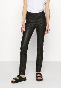 Cream - MIRA PANTS - Kožené kalhoty - pitch black - 0