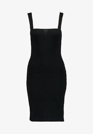 SQUARE NECK STRAPPY DRESS - Shift dress - black
