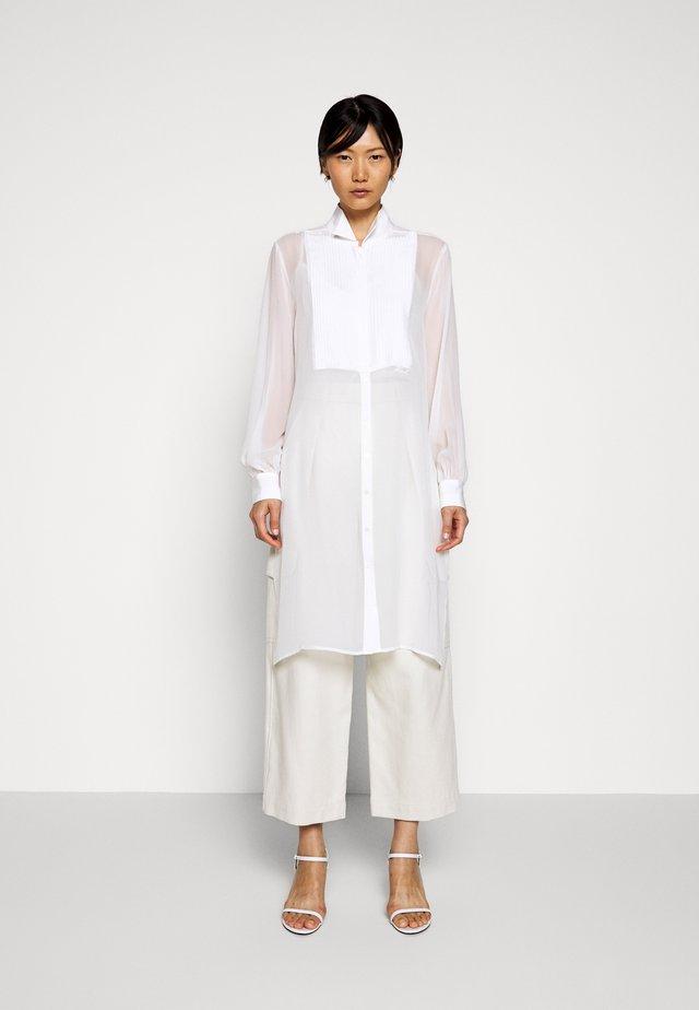 LONG PLASTRON - Button-down blouse - whisper white