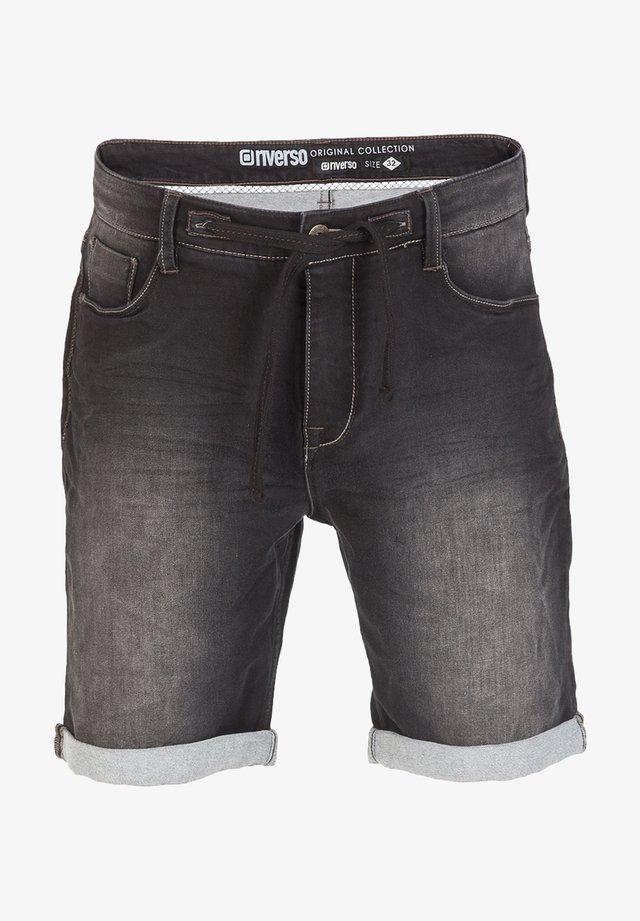 RIVFRED - Denim shorts - black