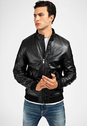 Kunstlederjacke - Leather jacket - noir