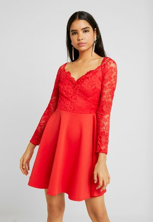 OFF SHOULDER SKATER - Shift dress - red