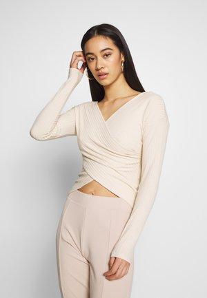 CRISS CROSS SHOULDER - Long sleeved top - beige