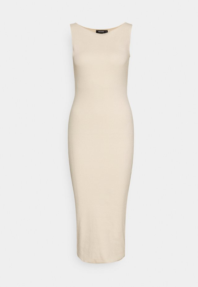 WIDE NECK SLEEVELESS RAW EDGE MIDI DRESS - Jersey dress - cream