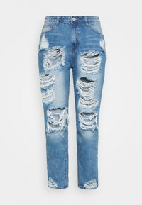 Missguided Plus - PLUS RIOT DISTRESSED - Jeansy Slim Fit - blue - 0