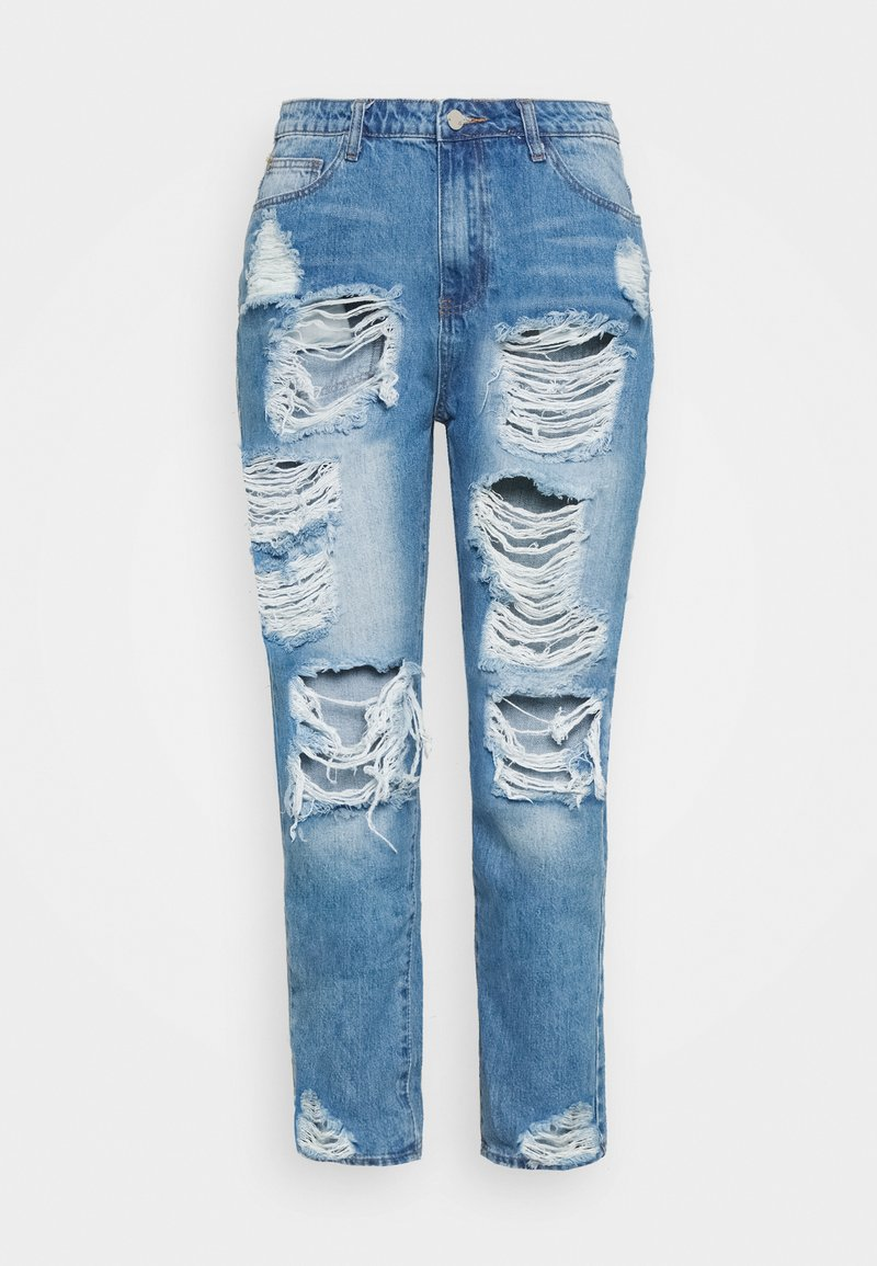Missguided Plus - PLUS RIOT DISTRESSED - Jeansy Slim Fit - blue