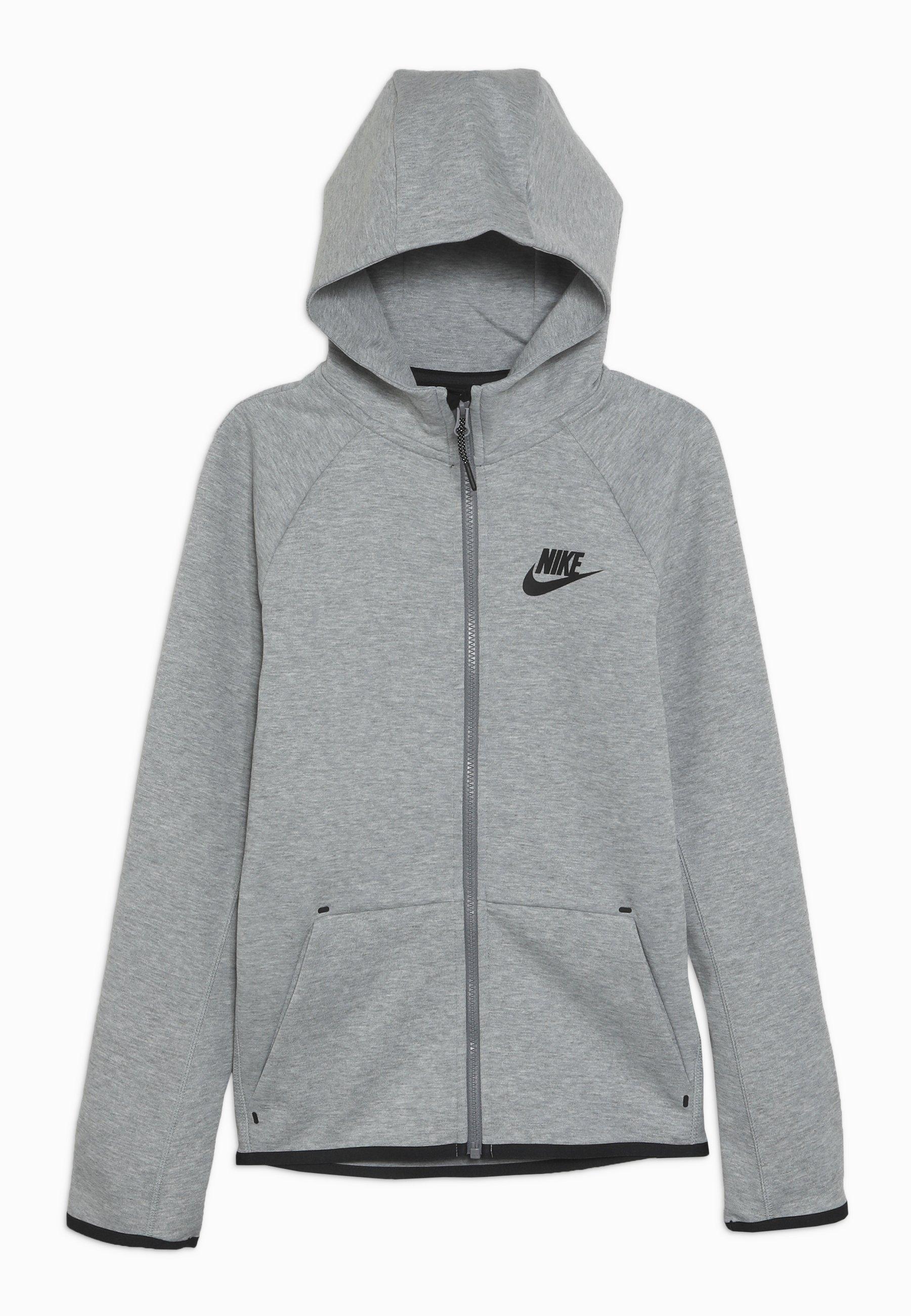 Nike Sportswear Tech Fleece Essentials Zip Up Hoodie Dark Grey Heather Black Mottled Dark Grey Zalando Co Uk