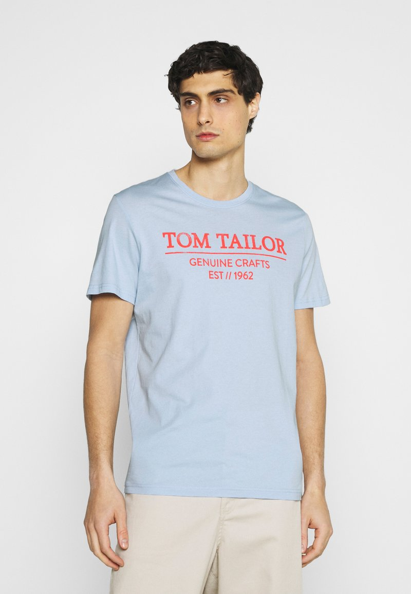 TOM TAILOR - Print T-shirt - light metal blue