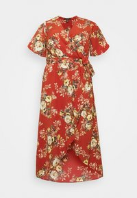 New Look Curves - HI LO FLORAL DRESS - Day dress - red - 4
