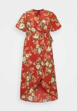 HI LO FLORAL DRESS - Day dress - red