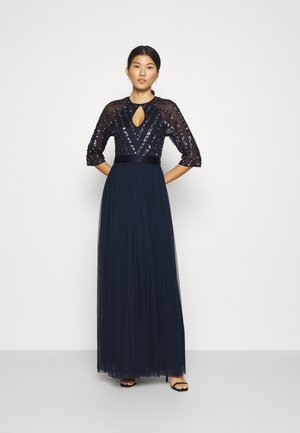 STRIPE SEQUIN BODICE WITH KEYHOLE - Robe de cocktail - navy