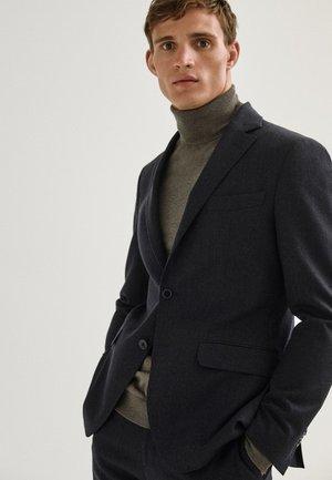 SLIM-FIT MIT HAHNENTRITTMUSTER - Blazer jacket - blue