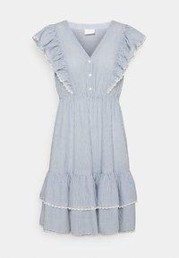 VILA PETITE - VIMALIA FLOUNCE DRESS - Day dress - snow white/colony/navy - 0