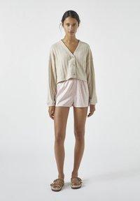 PULL&BEAR - MIT AUSSCHNITTSTICKEREI - Cardigan - mottled beige - 1