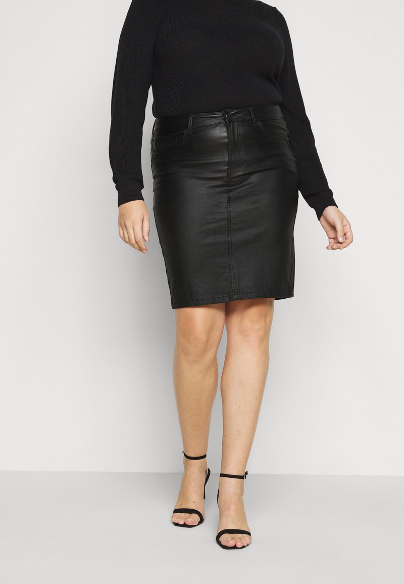 ONLY Carmakoma - CAREMILIA ROCK COATED SKIRT - Mini skirt - black