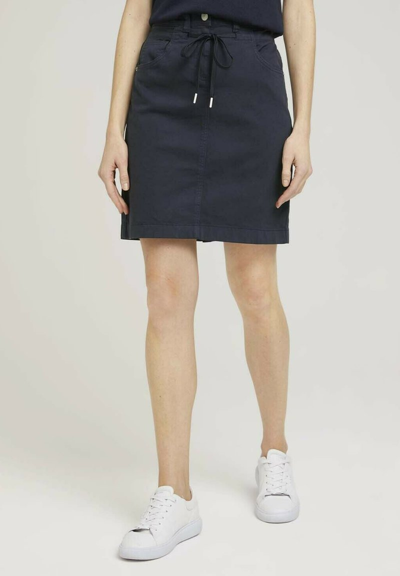 TOM TAILOR - MIT KORDELZUG - A-line skirt - sky captain blue
