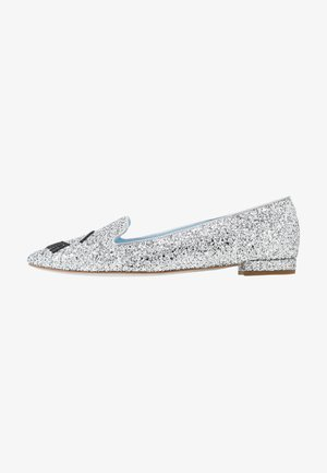 Loafers - silver glitter