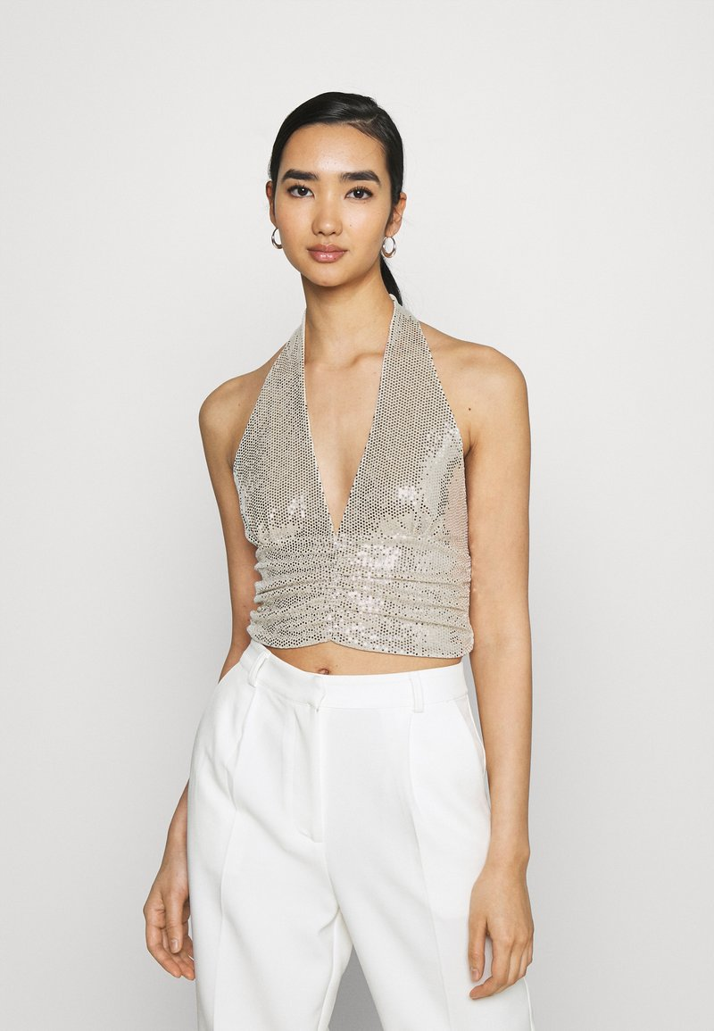 Gina Tricot - MULTIWAY GLITTER TOP - Top - beige