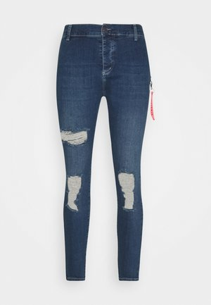 DISTRESSED  WITH ZIP DETAIL - Vaqueros pitillo - midstone blue